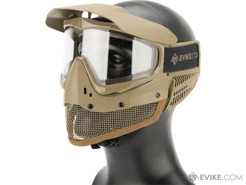 Evike Tippmann Tactical Mesh Full Seal Airsoft Mask with Fog Resistant Thermal Lens